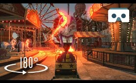 Scary Roller Coaster with Sea Monsters: Virtual Reality 3D Video 180° for Oculus Rift S, Gear VR Box